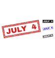 grunge july 4 scratched rectangle watermarks vector image vector image