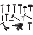 hammers icons set - gavel nail weapon of thor vector image