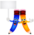 Happy pencil couple cartoon with blank sign vector image vector image