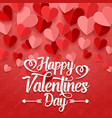 happy valentines day with paper heart vector image vector image