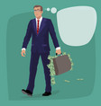 isolated man with briefcase full of cash money vector image vector image
