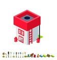isometric fire station building icon vector image