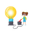 litle girl doing physics experiment with vector image