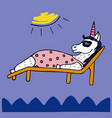 lovely hand-drawn unicorn-girl sunbathing vector image vector image