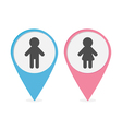 Map pointer set Man Woman icon Pink and blue round vector image vector image