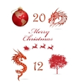Merry christmas symbols set red color
