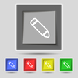 Pen icon sign on original five colored buttons vector image vector image