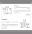 pharmacy web posters set plastic silver bottles vector image vector image