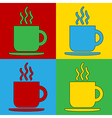 Pop art coffee cup icons vector image vector image