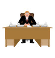 president at desk big boss at table director in vector image vector image