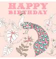 Retro Birthday Floral Card vector image