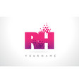 rh r h letter logo with pink purple color vector image vector image