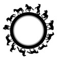 round frame with horse silhouettes vector image vector image