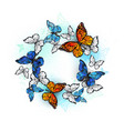 round frame with monarchs and morpho vector image vector image
