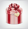 Round pink gift box with stripes vector image vector image