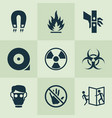 safety icons set with danger moving part vector image
