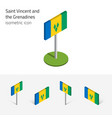 saint vincent and the grenadines flag set of 3d vector image vector image
