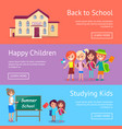 school and studying related set of posters vector image vector image