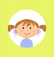 schoolgirl with pony tails child or girl avatar vector image vector image