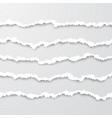 set horizontal seamless torn white paper wisps vector image vector image