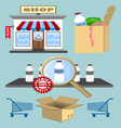 Set of design shopping elements vector image
