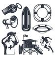 set of vintage lifeguard elements vector image vector image