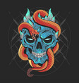 skull head punk and snake artwork detail wi vector image vector image