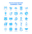 summer time blue tone icon pack - 25 icon sets vector image