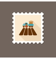 Tractor on field flat stamp with long shadow vector image vector image