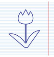 tulip sign navy line icon on notebook vector image vector image
