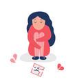 unhappy depressed girl with broken heart vector image vector image