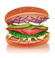 vegetarian burger with salmon fish vector image vector image