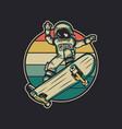 vintage design astronaut riding skateboard retro