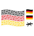 waving germany flag pattern of barbed wire items vector image