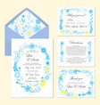 wedding set of invitation and cards with floral vector image vector image