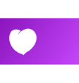 white heart on purple background vector image vector image