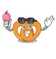 with ice cream pretzel character cartoon style vector image vector image