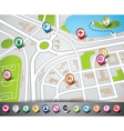 map with pointer set vector image