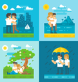 Flat design dating couple set vector image