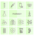 14 pharmacy icons vector image vector image