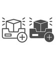 3d project line and glyph icon add 3d modelling vector image vector image