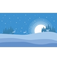 At night deer in hill scenery Christmas vector image