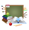 Blank chalkboard and books vector image vector image