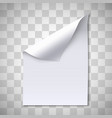 blank paper sheet with page curl vector image