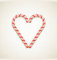 candy canes shape of heart vector image vector image