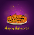 card with halloween pumpkins on a plate vector image vector image