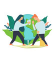 caring for environment and cleaning planet vector image vector image