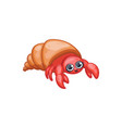 cartoon cancer or lobster in shell kawaii style vector image vector image