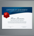 certificate design template with blue curve shape vector image vector image