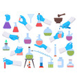 chemistry laboratory test tubes and science tools vector image vector image